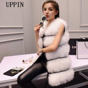 UPPIN 2018 nuevo de la manera invierno de las mujeres chaleco de piel de cifrado 100% plumas de avestruz Natural Escudo pluma de Turquía chaleco de piel