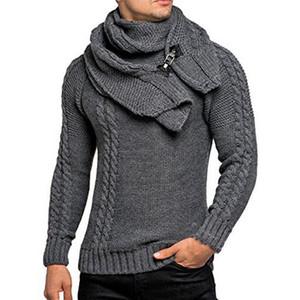 Erkek Kazak Kış Ayrılabilir Eşarp Örme Triko Kazaklar Giyim Vintage Triko Çekme Homme Casual Kazak Asya Boyut