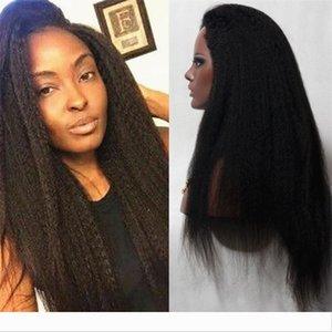8A Brazilian Kinky Straight Human Hair Glueless Full Lace Wigs Front Lace Wigs Italian Coarse Yaki Wigs 150% Density For Black Women
