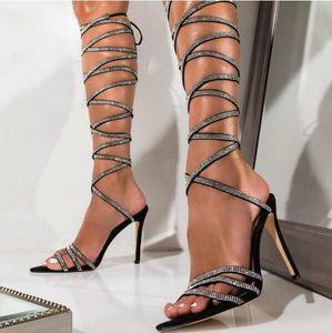 Sexy Riemchensandaletten Frauen Gladiator-Kristall Wrapped Heels Knie Hohe Sandalen Peep Toe Stiletto Absatz-Sommer-Kleid-Schuhe