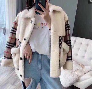 Женщины сексуальный меховой плед шерсти пальто моды марка классические дамы высокое качество Lamb кашемир сгущает Теплый бархат осени Winte куртка
