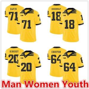 customize NCAA IOWA Hawkeyes football jerseys Carl Davis 71 Christian Kirksey 20 Chad Greenway 18 Cole Croston 84 jersey any name size S-5XL