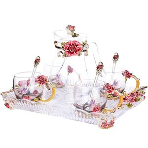 European Enamel Color Water Bottle Kettle Set with Tray with Spoon Heat-resistant Glass Home Tea Cup Gift Glass Cups