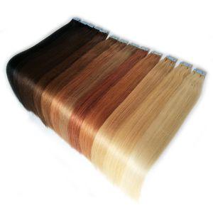 Tape В человеческих волос шелковистые прямые кожи Уток Человеческие волосы Remy Double Dorw 100г 14-24inch 20 цветов опционных Factory Outlet