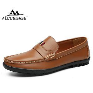 Erkek Penny Loafers Nefes Makosenler ayakkabı giyilen Ayakkabı Sürüş ALCUBIEREE Gerçek Deri Erkekler Loafers Hafif Flats