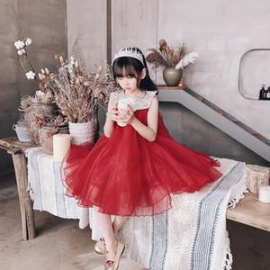 2020 лето красное кружево Принцесса девушка платье для девочки подростка день рождения одежда малыш свадебное платье предпродажа в конце апреля T200417