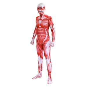 Взрослые Дети Аниме Атака на Titan Kyojin Muscle Косплей Zentai Pattern BodySuit Костюм Комбинезоны