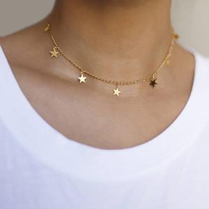 Colar Gargantilha Estrela de Prata ouro colar pentagrama Gargantilhas Colares Cadeia Mulheres Moda jóias presente Drop Ship
