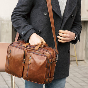 Messenger Leather Cowhide Bags Leather Genuine High Crossbody Bags Men's Business Briefcase Mens Quality Handbags Laptop Agqer