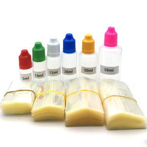 Cancella tubo di avvolgimento termoretraibile in PVC per 10 ml 15ml 20ml 30ml 50ml Bottiglie di imballaggio da 50 ml di imballaggio E liquido bottiglia di contagocce HeatShRink Film Ridimensionamento Guarnizioni