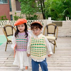 Kids flower knitting Vest 2020 Autumn new children jacquard knitted sweater waistcoat boys girls all-match vest Tops V051