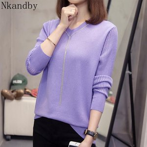 Nkandby Plus Size V Neck Women Pullover 2020 Spring Fashion Korean Bright Silk Knitted Sweaters Oversized Loose Knitwear Tops