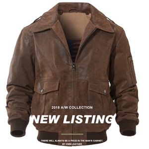 US Style Pilot Mans Motorcycle Pigskin Leather Jackets Casual Vintage Retro Men's Short Genuine Leather Bomber Jackets