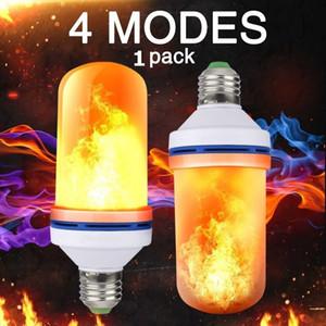 E27 Светодиодная лампа с эффектом пламени огня, мерцающая эмуляция, светодиодные лампы 3W, желтый, синий