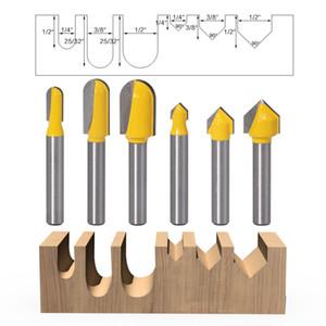6pcs 6 mm Shank Mèches de toupies Coffret de base Bit rounf nez bit 90 degrés Bit V-Groove Pour coupe du bois Outils électriques