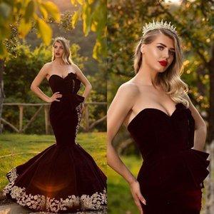 2020 ragazza abiti oro romantico pizzo Borgogna sera della sirena Prom Dresses sudafricano Velvet Paese Lunghezza Piano economico del partito