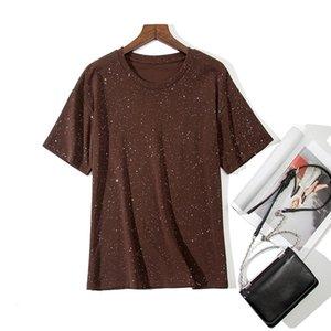 Bahar O-Boyun Sequins Cottonelastic T-shirt Rahat Örgü Yaz Kadın Kadın Tshirt Lady 2020 Kısa Kollu Tops Temel Tees Baggu
