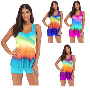 Plus Size donne sexy minigonna costume da bagno arcobaleno stampato Contrasto colori dei costumi da bagno estate Designer Bikini