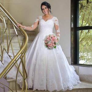 Plus Size Sheer V Neck Wedding Dresses 2020 Long Sleeves Applique Lace Buttons Back Bridal Gowns Sweep Train A Line Vestidos De Novia