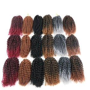 Malibob Sintetico Intrecciatura Capelli Crochet Riccio crespo Torsione 8Inch Estensioni capelli sintetici 3 pezzi / set Altri colori