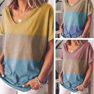 V Yaka Casual Tops Tasarımcı Kontrast Renk Kısa Kollu Tişört Kadınlar Gevşek Yaz Tees moda Womens