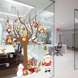 DIY Glass Window Stickers Santa Owls Tree Christmas White Snowflakes Pendant Wall Window Glass Sticker Christmas Decoration