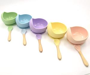 Preuve en cas de déversement de bébé en silicone d'alimentation bol Ensemble d'aliments de silicone de qualité Cartoon Snail Bowl avec bébé cuillère en bois Nourrir Vaisselle enfants Vaisselle