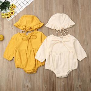 Pudcoco bebés recién nacidos para niños monos otoño del resorte de manga larga mono del mameluco del sombrero Adorable Conjuntos de ropa 6-24Months