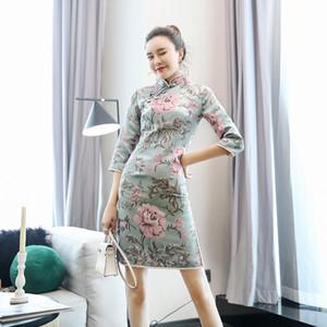 2020 stile cinese boutique vestito da partito moderno cheongsams sera cinese del vestito dal cheongsam ricamo tradizionale