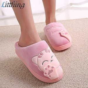 Litthing Women Indoor Slippers Cartoon Warming Shoes Anti-skid Child Cotton Slippers Fashion home Parent-Child Shoes