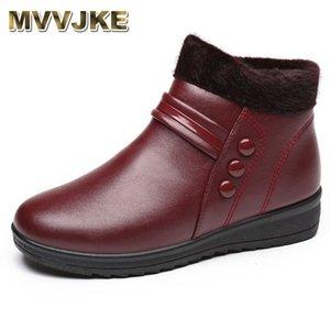 MVVJKE hiver chaussures en coton mère imperméable à l'eau plus chaudes chaussures de grand-mère confortable et âgées femmes bottes dames cheville neige