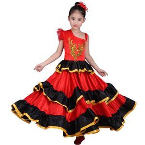 Kids Girls Red Belly Dance Dress Spanish Flamenco Costume Ballroom Tribal Dress With Head Flower