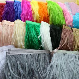 Meetee Larghezza 11-16cm Striscia di piume di struzzo Rifiniture di nastro per gonna di stoffa Pizzo Fai da te Accessori per abiti da sposa Artigianato