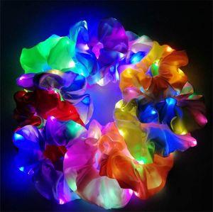 Aydınlık LED Scrunches Saç Halkası Bantlar Kadın Kızlar Screunch Kafa Çiçekler Kafa Band Moda Saç Dekor Kulübü Parti Saç Aksesuarları LY8052