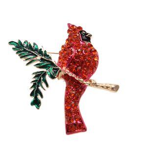 Free Shipping Hot sale Vintage Gold Tone Elegant Rhinestone Crystal Animal Brooch Pin Enamel Bird brooch pin