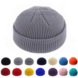 Tricotar Brimless Cap para as Mulheres Homens Docker Leon Harbour Hat Assista respirável Projeto retro Unisex Beanie Sailor Rolled Cuff Skullcap
