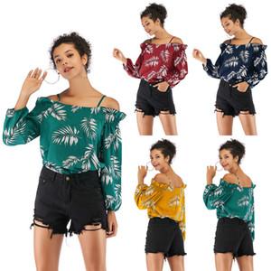 Women Leaf Printed Chiffon Tops Lady Fashion Long Sleeve Slash Neck Shirts Casual Off Shoulder Strap Blouse