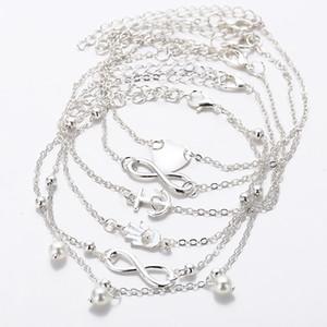 tas charme Bracelets 5 PCS / lot Femmes d'été Couleur Or et Argent Couleur Perle coeur Anklet infini Bohême charme cheville chaîne femme Jewe ...