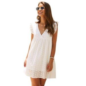 SKTSUUC Casual Robe en dentelle blanche Boho col V manches genou en vrac coton crochet fleur creux femmes robe d'été jaune bleu MX200508