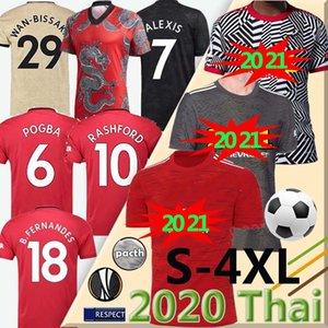 2020 2021 FC 맨체스터 RASHFORD B. 페르난데스 POGBA 축구 유니폼 무술 축구 셔츠 21 UTD (20) 연합 유니폼 사람 + 아이들은 S-4XL를 KIT
