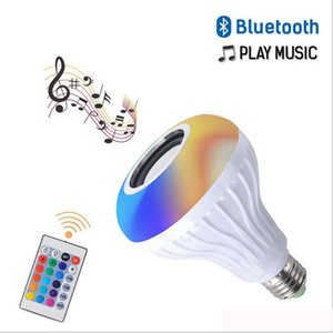 Smart LED E27 Light RGB Wireless Bluetooth Speakers Bulb Lamp Music Playing Dimmable 12W Music Player Audio DHL Free Shipping