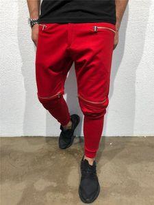 Sólido de color ocasionales de los deportes Lápiz Pantalones Hommes Pantalones para hombre de la cremallera de diseño drapeado del basculador de pantalones