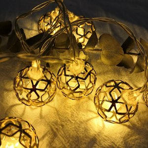 Wrought iron hollow small ball LED lights string Christmas garden wedding arrangement bouquet gift box decoration color string lights