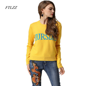 FTLZZ Suéter de mujer Letras bordadas de lunes a domingo 7 colores Suéteres de suéter Primavera Otoño Tops de punto de manga larga