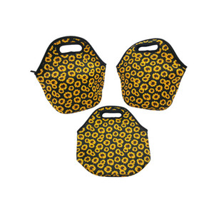 Conveniente Girassol Impresso Saco de Almoço Neoprene Refrigeradores Isolados Bolsas Recipientes de Alimentos Portáteis Fit Outdoor Picnic Venda Quente 13ny E1