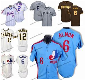 Урожай 1980 Монреаль Выставки # 6 Билл Almon Бейсбол Джерси Дешевые Белый Синий Билл Almon прошитой Рубашки