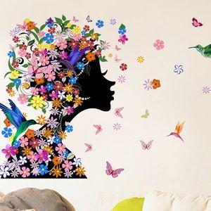 46x58 سنتيمتر 2016 ماركة الفراشات زهرة الجنية فتاة الجدار ملصق للمنزل ديكورات الفينيل صائق جدارية الفن الاطفال نوم بالجملة