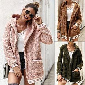 Women Autumn Pockets Designer Jacket Solid Hooded Long Sleeved Coats Tops