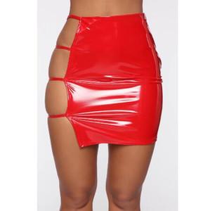 Cintura alta Pencil Skirt Mulheres 2020 Verão Novo Clube Sexy oco Out saia vermelha PU Leather Bodycon Neon Green Mini Saias