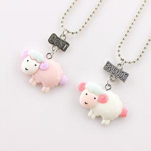 2pcs / set meilleur ami mignon Kid Sheep Rose Colliers 3D imitation BFF Pendentif animaux Collier